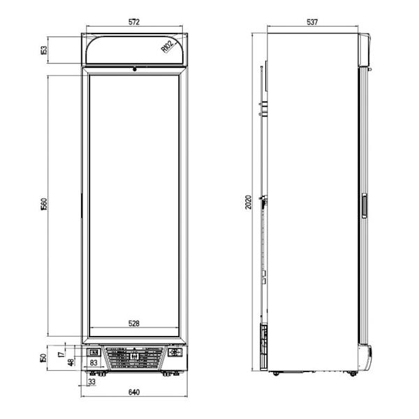 Külmkapp ühe klaasuksega 640x670x2058mm