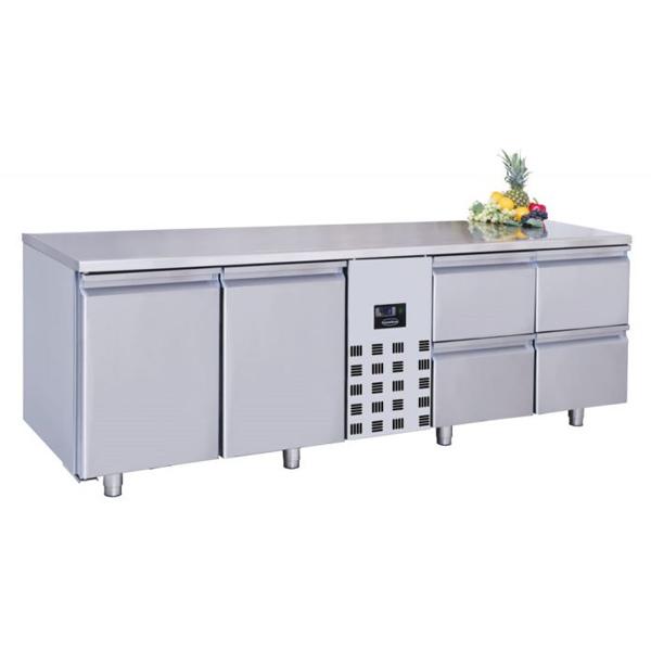 Külmtöölaud kahe uksega ja nelja sahtliga 2270x700x1050mm