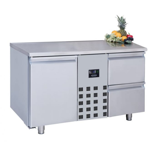 Külmtöölaud ühe ukse ja kahe sahtliga 1300x700x850mm