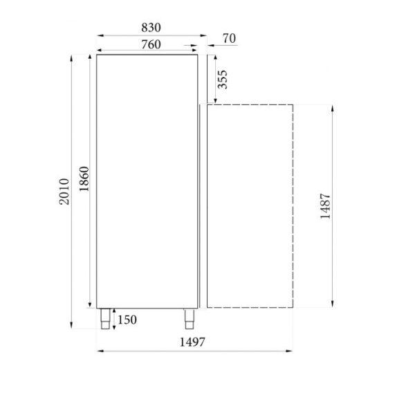 Sügavkülmkapp SS ühe klaasuksega 740x830x2010mm
