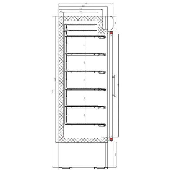 Sügavkülmkapp kahe klaasuksega 1370x700x1990mm