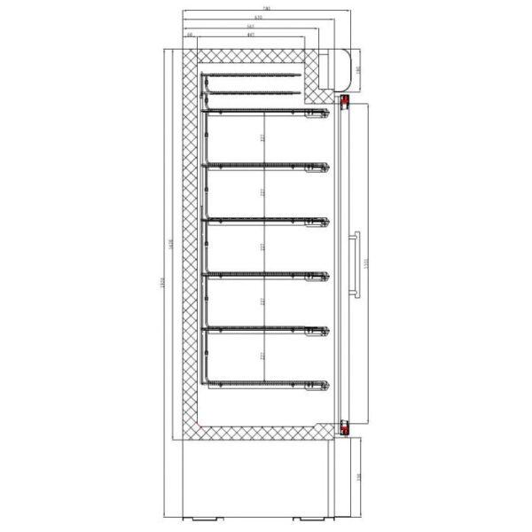 Sügavkülmkapp ühe klaasuksega 680x700x1990mm