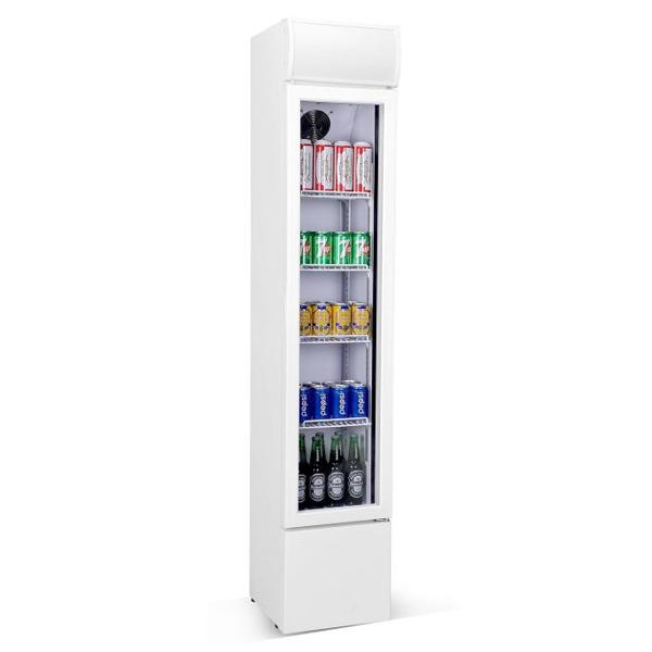 Külmkapp kitsas klaasuksega 360x422x1880mm