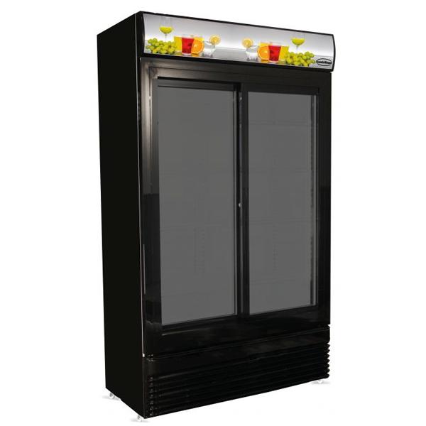 Külmkapp must klaasist liugustega 1120x595x2100mm
