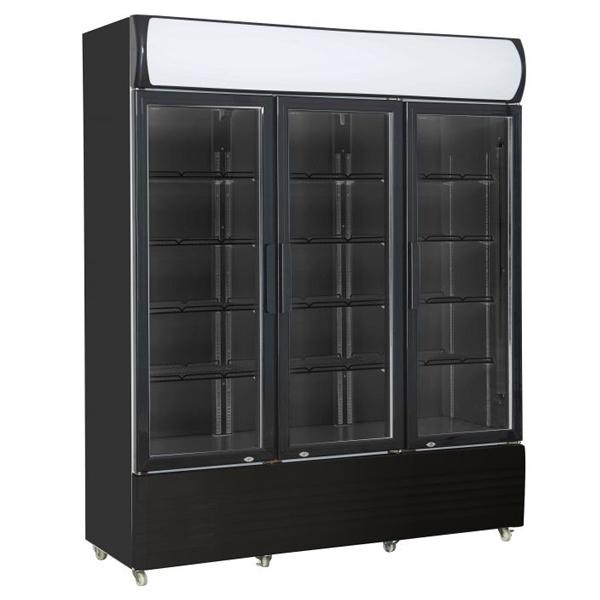 Külmkapp must kolme klaasuksega 1600x610x1973mm