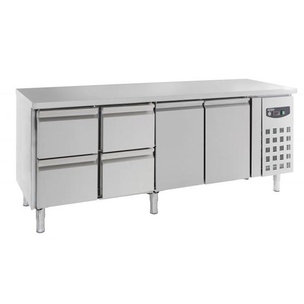 Külmtöölaud kahe ukse ja nelja sahtliga 2230x700x850mm