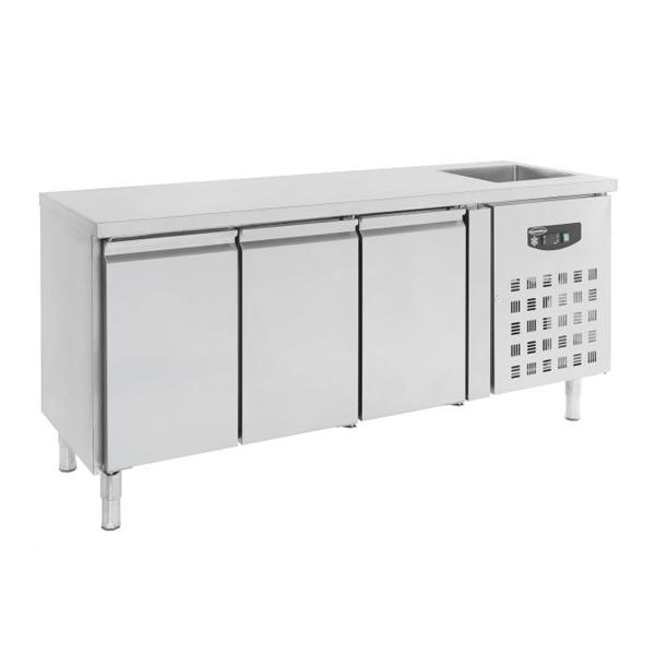 Külmtöölaud kraanikausi ja kolme uksega 2020x700x960mm